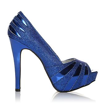 H13 Blue Glitter Stiletto High Heel Party Peep Toe Shoes