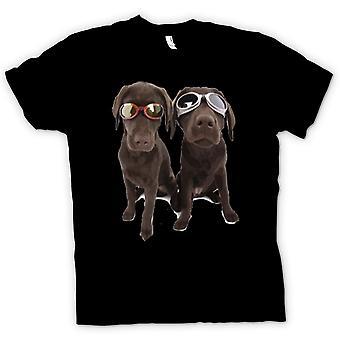 Mens T-shirt - Cool Black Labradors With Sunglasses