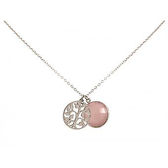 Ladies - necklace - pendants - tree of life - 925 Silver - chalcedony - pink - 45 cm