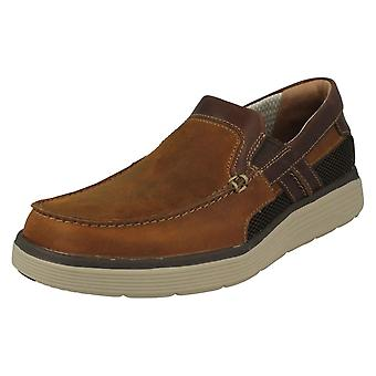 Mens Clarks Casual Slip On Shoes Un Abode Free - Light Tan Leather - UK Size 10G - EU Size 44.5 - US Size 11M