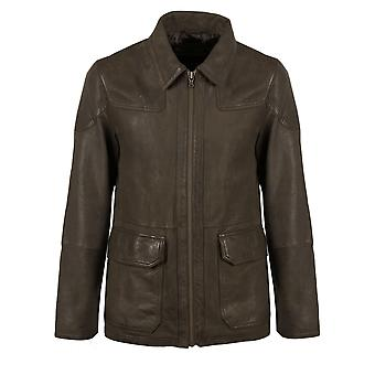 Grizedale Leather Coat in Dark Brown