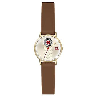 Orla Kiely Womans Tan lederen Champagne bloem Dial OK2094 Watch