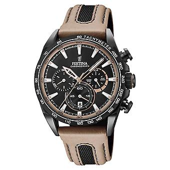 Festina Mens Black PVD verguld Chrono lederen riem F20351/1 Watch