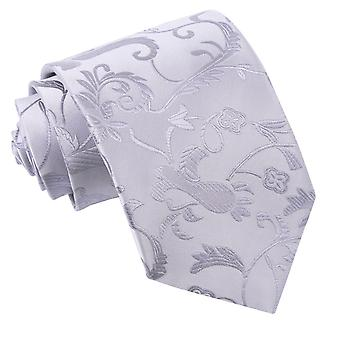 Silver Floral Classic Tie