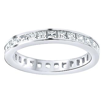 Sterling 925 Silver eternity ring - channel princess cut