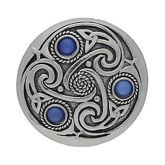 Handgemachte keltische Triskele 3 blaue Mondsteine Zinn Brosche