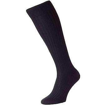 Pantherella Knightsbridge Over the Calf Cashmere Socks - Black
