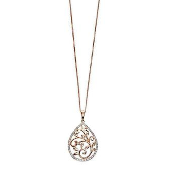 Elements Gold Diamond Ornate Cutout Pendant - Rose Gold/Clear