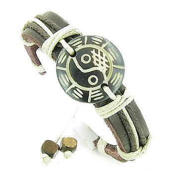 Amulet ekte skinn justerbar armbånd med heldig Yin Yang BA GUA naturlig bein lykkebringer