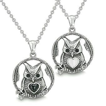 Amulets Owl and Cute Heart Love Couple Best Friends Positive Energy Onyx White Cats Eye Necklaces