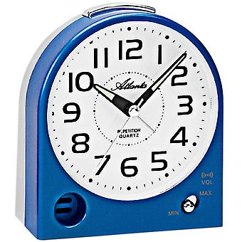Atlanta 1928/5 alarm clock quartz analog blue gray quietly without ticking with light Snooze
