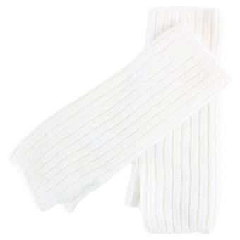 Johnstons of Elgin Ribbed Wrist Warmer Gloves - Ecru Cream