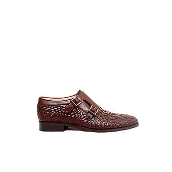 Handcrafted Premium Leather Pleonaste Brown Monk Shoe
