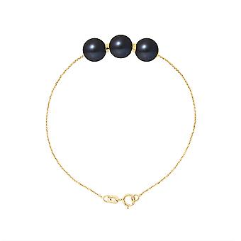 3 culture of freshwater pearls black AA woman bracelet and yellow gold 750/1000