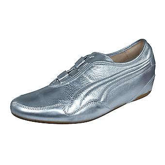 Puma Mostro Re Luxe Womens Leather Trainers / Shoes - Silver