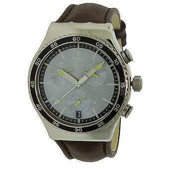 Swatch STOCK XCHANGE Leather Mens Watch YVS429