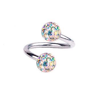 Giro de espiral Piercing titanio 1, 2 mm, múltiples bolas de cristal Aurora Boreal | 6-12