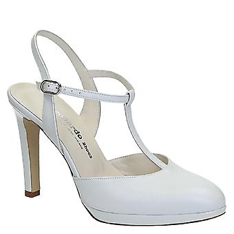 White leather bride t-bar heeled sandals with platform