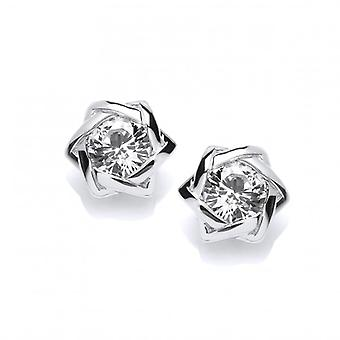 Cavendish Franse Sterling Zilver Twist en CZ Stud Earrings