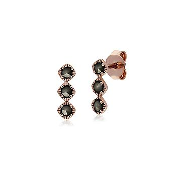 Gemondo Rose Gold Plated Sterling Silver Triple Stone Marcasite Stud Earrings