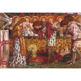 Como Sir Galahad, Dante Gabriel Rossetti, 52x42cm
