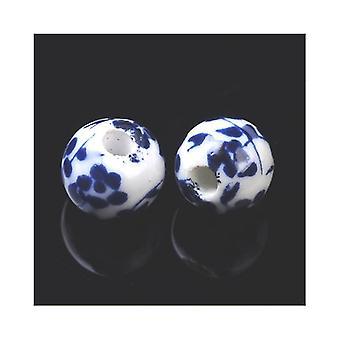 Packet 20 x White/Dark Blue Porcelain 6mm Plain Round Beads HA27095