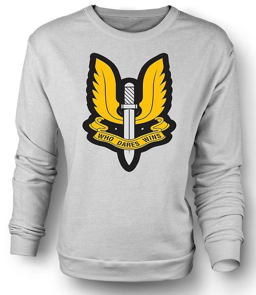 Mens-Sweatshirt-Sas, der es wagt gewinnt Abzeichen - Krieg