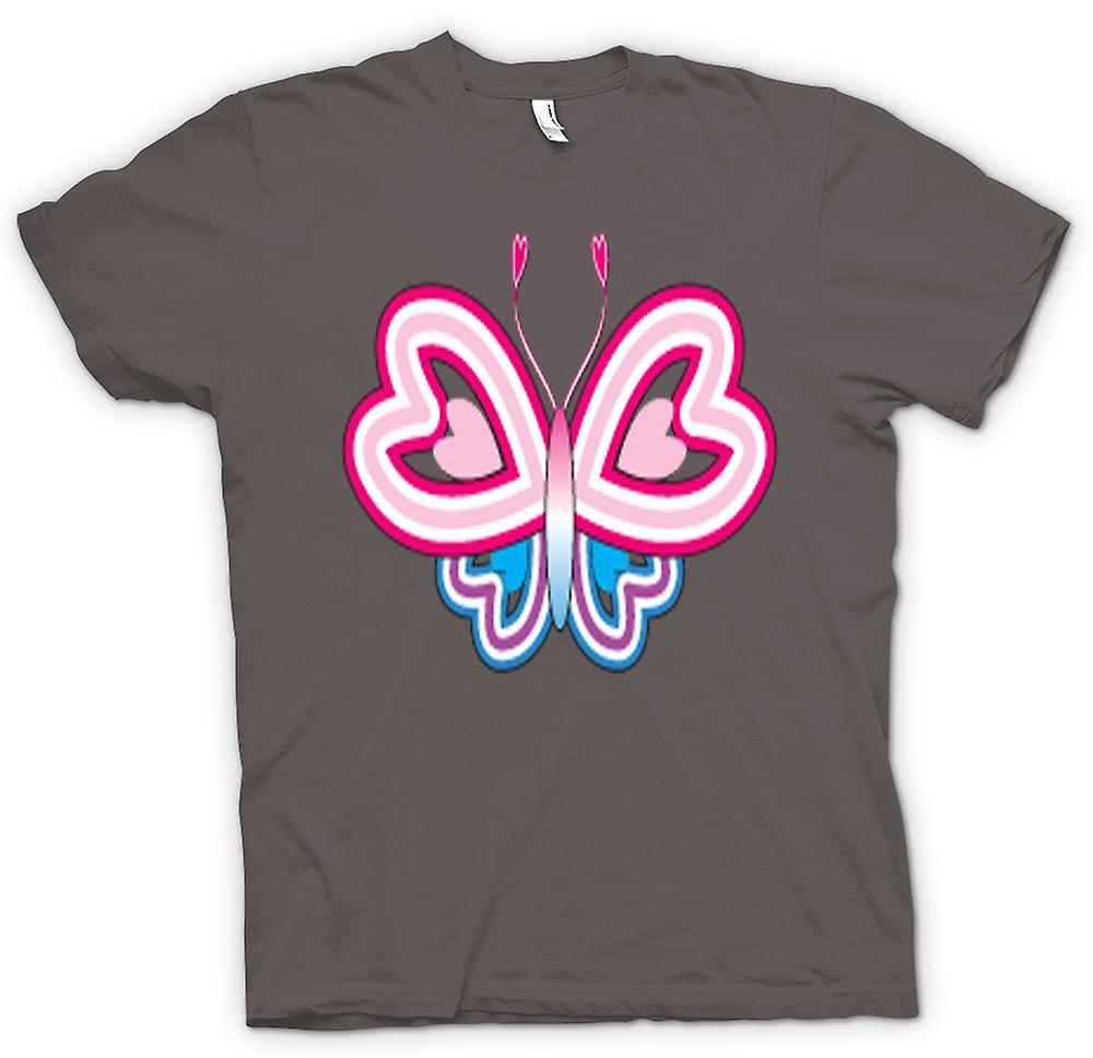 Womens T-shirt - Butterfly Pattern With Heart Wings