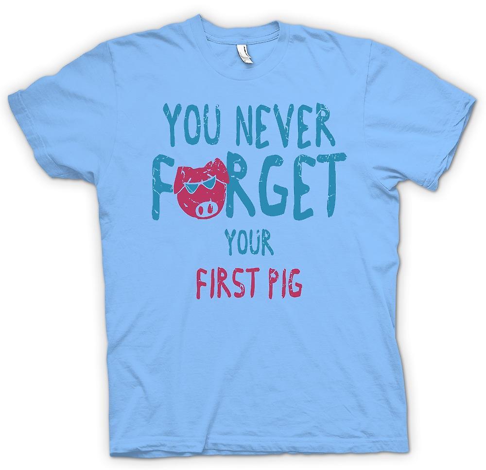 Camiseta para hombre - nunca se olvida su primer cerdo - divertido crudo