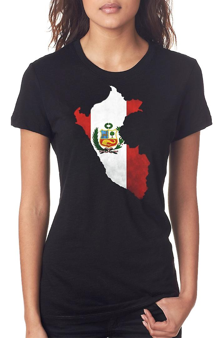 Peru Peruvian Flag Map Ladies T Shirt