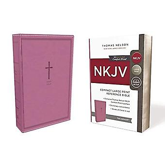 NKJV, Reference Bible, Compact Large Print, Leathersoft, Pink, Red Letter Edition, Comfort Print