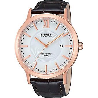 Pulsar mens-leather quartz wrist watch PAR184X1