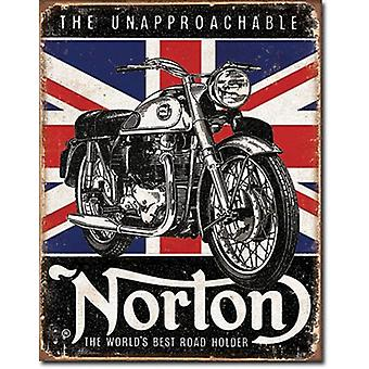 Norton World's Best Union Flag in b'ground metal sign    (de)