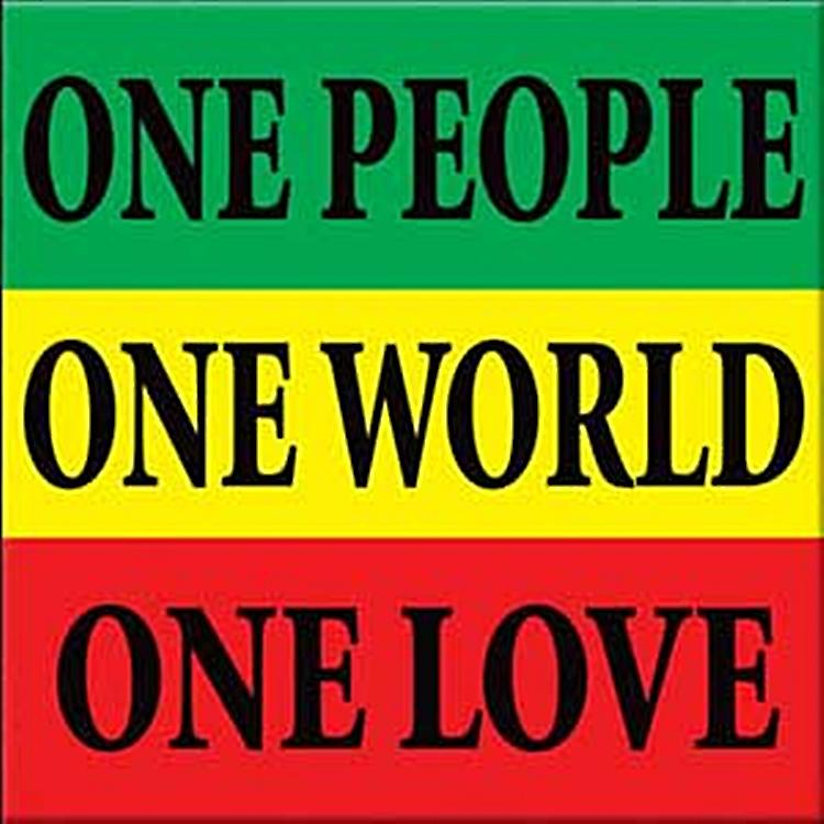 One People One World One Love steel fridge magnet (cv)