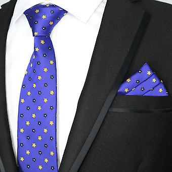 Midnight blue & yellow ditsy floral tie & pocket square