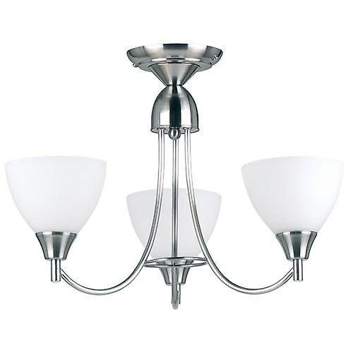 Endon 1805-3SC 3 Arm Ceiling Light With Opal Glass - Dual Mount