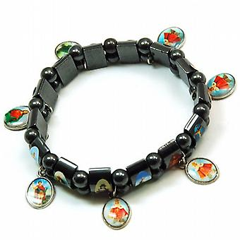 Hematite 'Holy Bracelet' With Base Metal Charms On Black Elastic