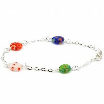 925 Silver Bracelet with Translucent Coloured Beads