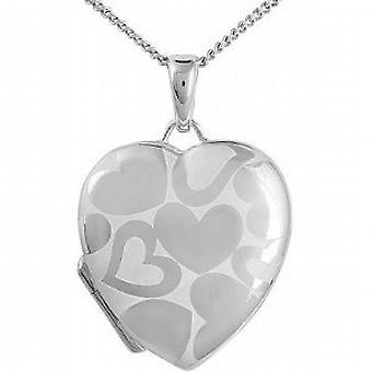 TOC Sterling Silver Heart Patterned Heart Locket Necklace 18