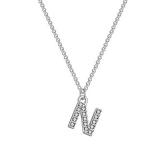 Pave initial necklace letter n created with swarovski® crystals