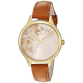 Timex dame Crystal Bloom Tan/guld Floral Accent læder rem Watch TW2R66900