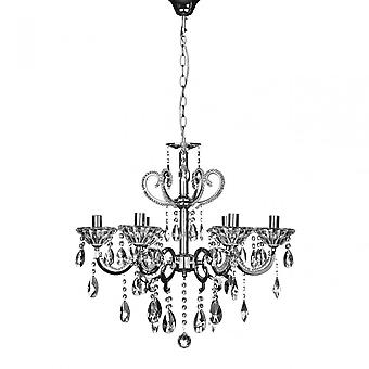 Premier Home Kendall ljuskrona, krom, kristall, silver