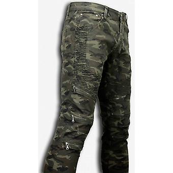 Exclusif Ripped Jeans-Slim Fit Biker Jeans Zipped Knee-Green