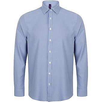 Henbury - Mens Gingham Pufy Wicking Long Sleeve Shirt