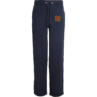 School Of Infantry - Licensed British Army Embroidered Open Hem Sweatpants / Jogging Bottoms