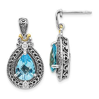925 Sterling Silver Polished Prong set Post Earrings Antique finish With 14k Diamond and Blue Topaz Earrings