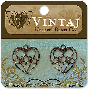 Vintaj Metal Accents 2 Pkg Delicate Heart 19X18mm Dp0013r