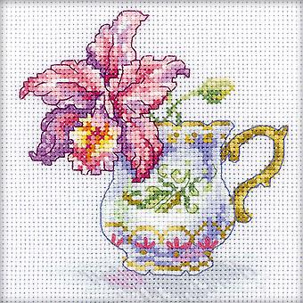 Orchid Tea Party Counted Cross Stitch Kit-4.75