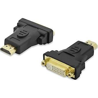DVI / HDMI Adapter [1x HDMI plug - 1x DVI socket 29-pin] Black gold plated connectors, screwable ednet