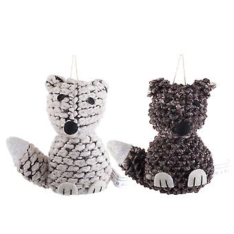 Set of Two Knitted Look Fabric Christmas Fox Hanging Tree Decorations